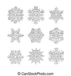 ícones, inverno, jogo, cobrança, efeito, snowflake, natal, neve branca, vetorial, 3d