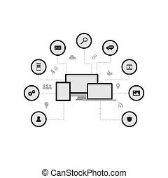 ícones, isolado, fundo, vetorial, branca,  -set