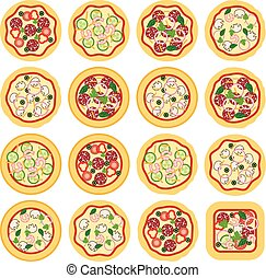 ícones, italiano, vetorial, pizza