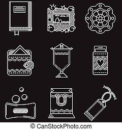 ícones, itens, feito à mão, vetorial, linha branca