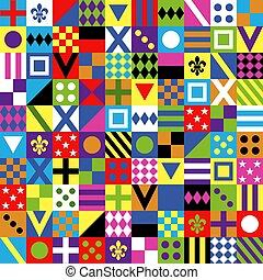 ícones, jóquei, racing., tradicional, jacket., impressão, riding., seamless, cavalo, set., vetorial, uniformes, uniform., roupas, pattern., illustration., design.
