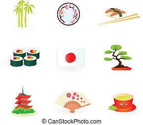 ícones, japão