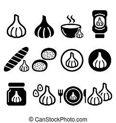 ícones, jogo, alimento, alho