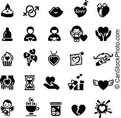 ícones, jogo, amor, dia, valentine