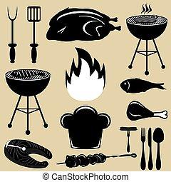 ícones, jogo, churrasqueira, churrasco