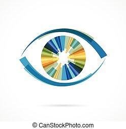 ícones, jogo, coloridos, olho