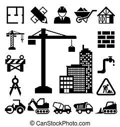 ícones, jogo construção