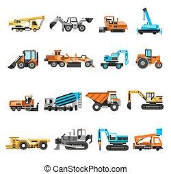 ícones, jogo construção, máquinas