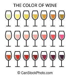 ícones, jogo, cor, vinho