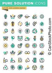 ícones, jogo, ecologia, linha, magra