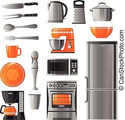 ícones, jogo, eletrodomésticos, utensílio, cozinha