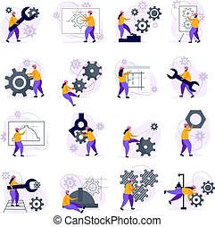 ícones, jogo, engenharia