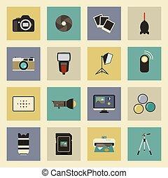 ícones, jogo, equipamento, apartamento, foto