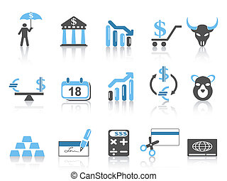 ícones, jogo, finanças, negócio