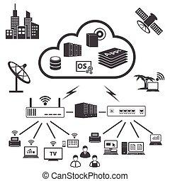 ícones, jogo, grande, computando, dados, nuvem