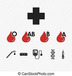 ícones, jogo, grupo sanguíneo, doação