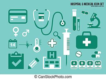 ícones, jogo, hospitalar, &, médico