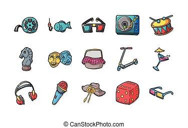 ícones, jogo, lazer, eps10, passatempo