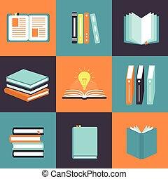 ícones, jogo, livro