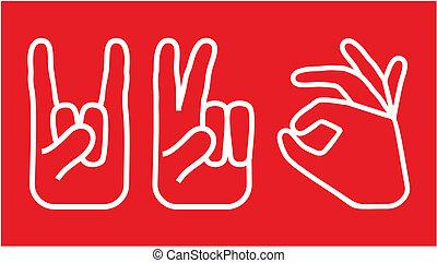 ícones, jogo, mão