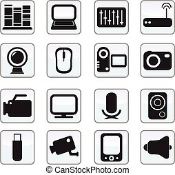 ícones, jogo, mídia