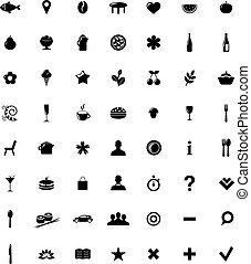 ícones, jogo, mapa, restaurante