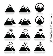 ícones, jogo, montanha, vetorial