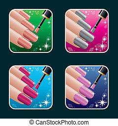 ícones, jogo, mulheres, manicure.