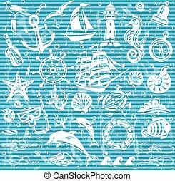 ícones, jogo, náutico, mar