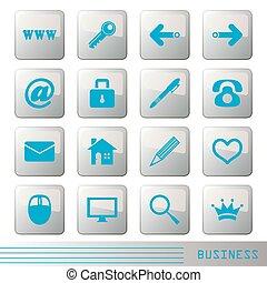 ícones, jogo, negócio