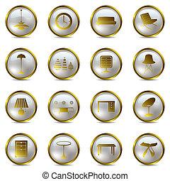 ícones, jogo, ouro, interior