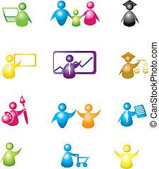 ícones, jogo, pessoas