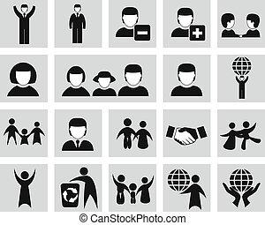 ícones, jogo, pessoas, vetorial