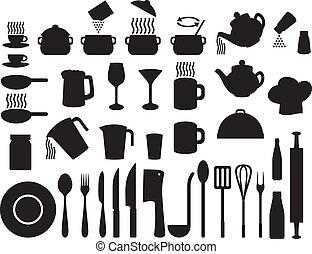 ícones, jogo, (set, cozinha