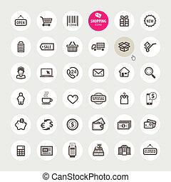 ícones, jogo, shopping