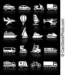 ícones, jogo, transporte, simples