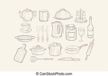 ícones, jogo, utensílio, cozinhar, ilustração, mão, equipamento, vetorial, desenhado, cozinha