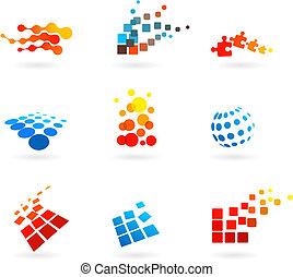 ícones, jogo, vetorial, abstratos