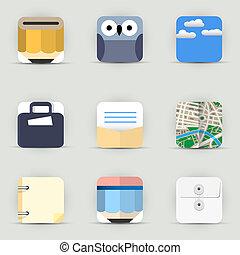 ícones, jogo, vetorial, app