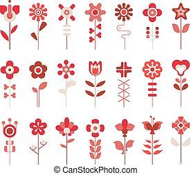 ícones, jogo, vetorial, flor