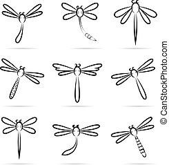 ícones, jogo, vetorial, libélula