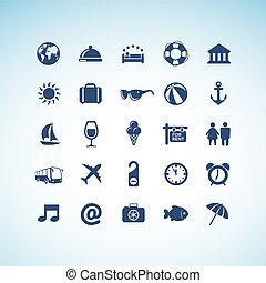 ícones, jogo, viagem