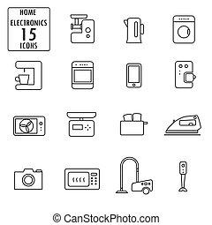 ícones, lar, jogo, eletrodomésticos