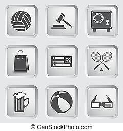 ícones, ligado, a, botões, para, teia, design., jogo, 1