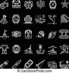 ícones, linha, cobrança, vetorial, mergulhar, branca, scuba