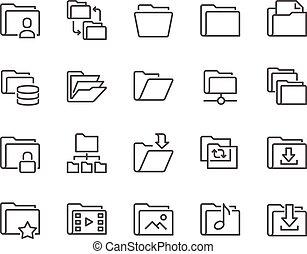 ícones, linha, pasta