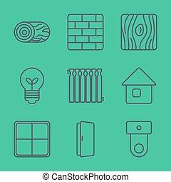 ícones, linha, vetorial, set., magra