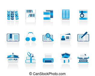 ícones, livros, biblioteca