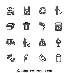 ícones, lixo, simples