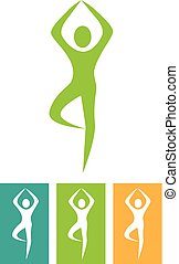 ícones, logotipos, 00037, 1, ilustração, ioga